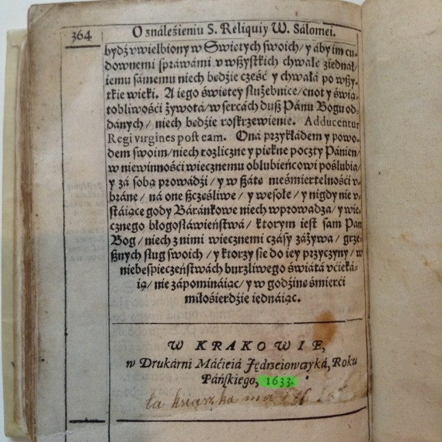 Rok wydania książki 1633