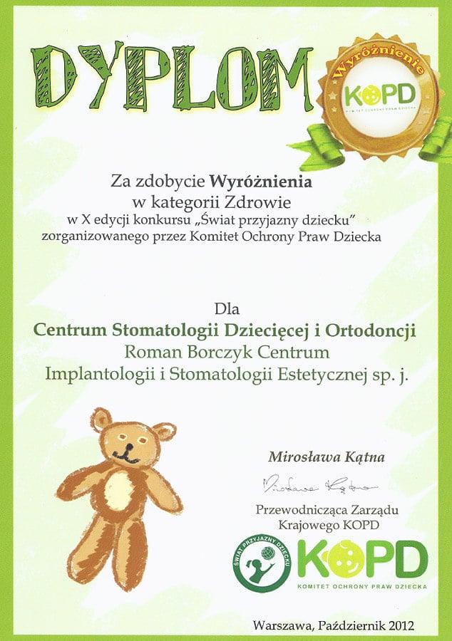 Dyplom 2012 Klinika Przyjazna dziecku